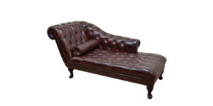 chesterfield day bed with buttoning burgundy leather and neck roll