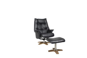black reclining chair and foot stool