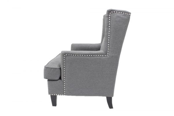 sife view of high back grey chair
