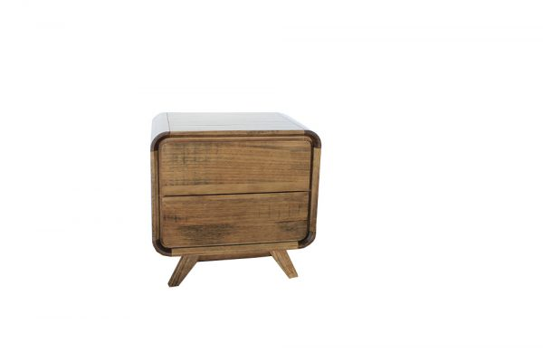 2 drawer bedside rounded edge