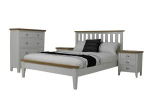bed white with timber top