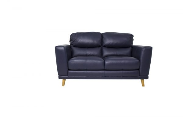 leather navy sofa 2 seat