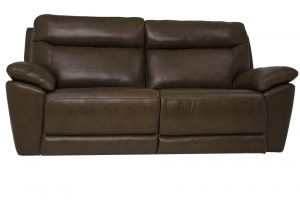 leather brown 2 seat recling sofa