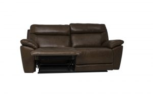 brown leather sofa 2 seat recliner