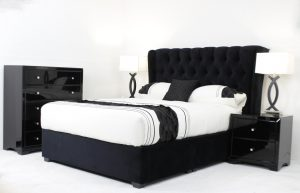 upholstered velvet bed chesterfield buttoning wing sides and 4 drawer storage unit in base