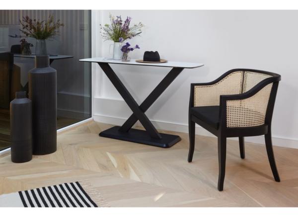 rattan chair black frame and cushion