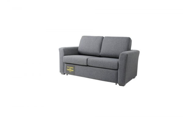 grey colored fabric sofa bed has glide out bed