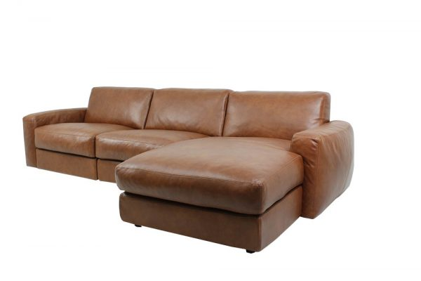 large leather sofa with chaise