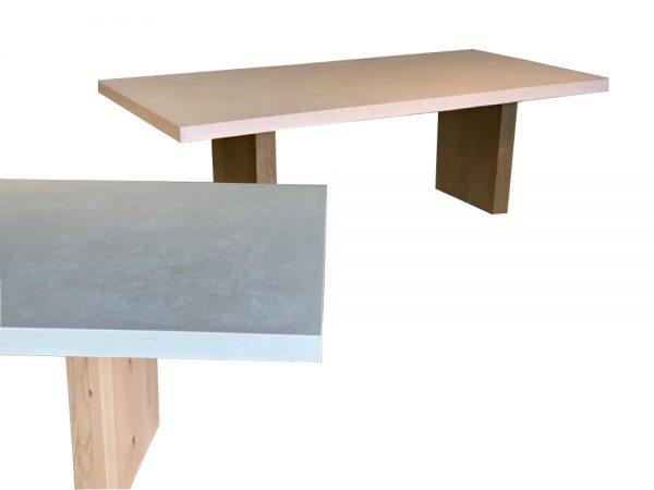 blush concrete dining table
