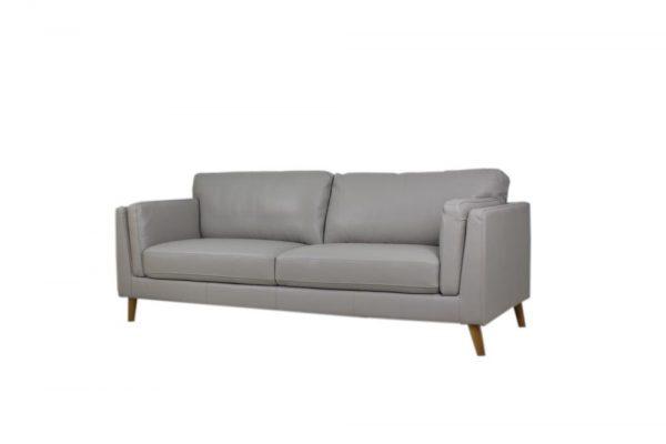 eather sofa retro design light gray color 2.5 seat