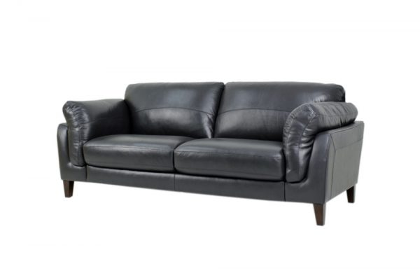 modern leather sofa navy blue 2 seat
