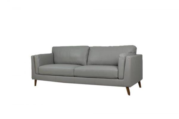 leather sofa retro design light gray color 2.5 seat