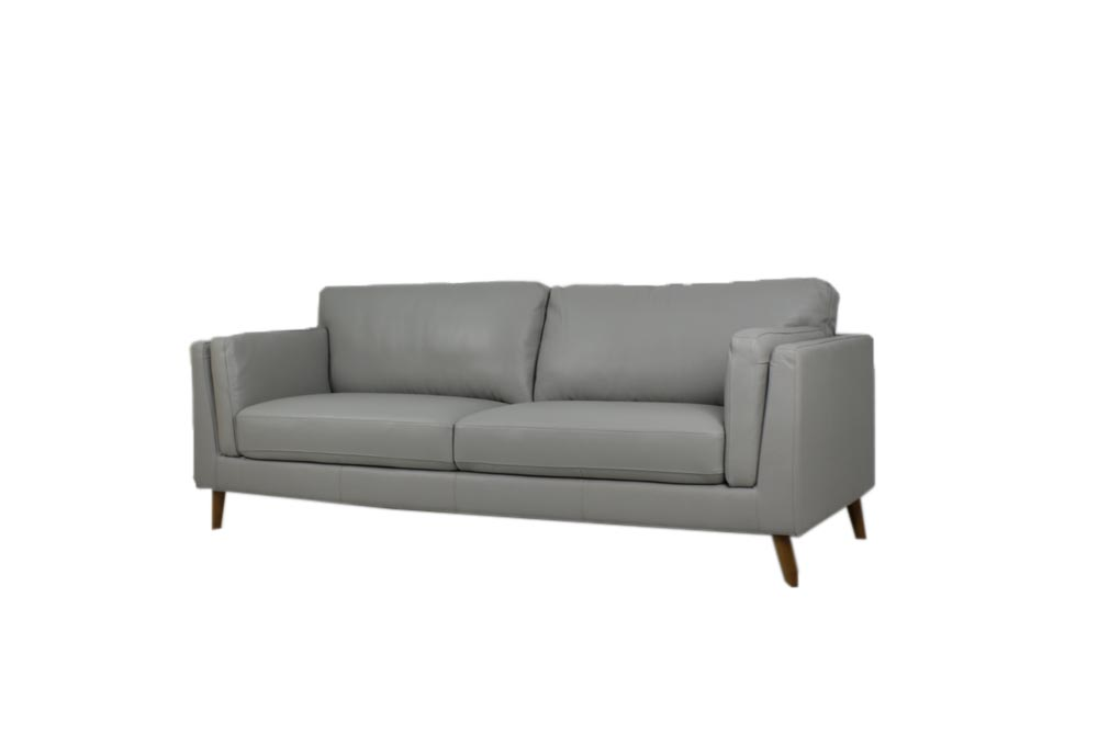 leather sofa retro design light gray color 2.5 seat