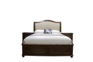 hardwood bed with fabric headboard and decorative buttoning