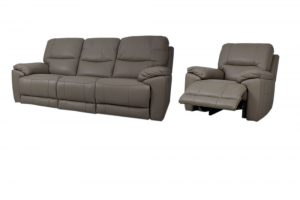 reclining leather chair and 3 seat sofa