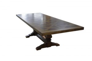 dining table large with crosshatch design.