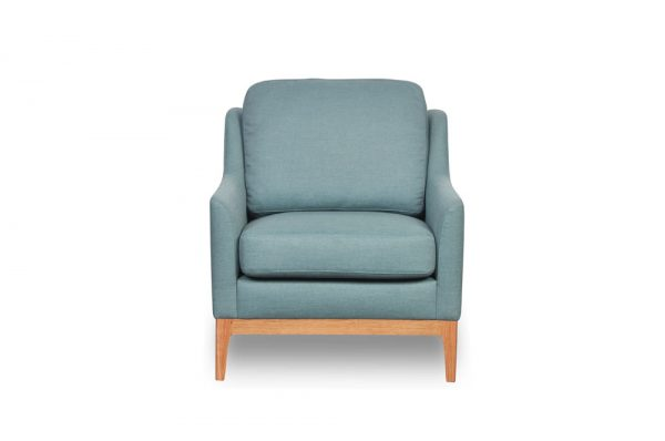 duck egg blue fabric and timber retro chair small with timber base
