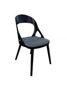 dining chair black timber with grey fabric cushion seat