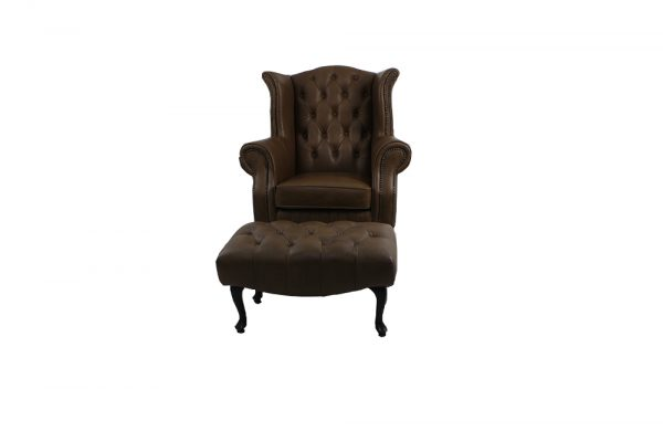 large chair with foot stool chesterfield wing