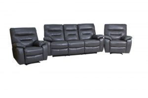 leather recliner suite dark grey 2 chairs and 1 by 3 seater.