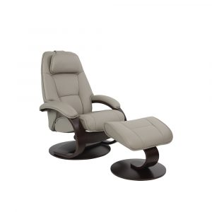 light grrey recliner chair with foot stool