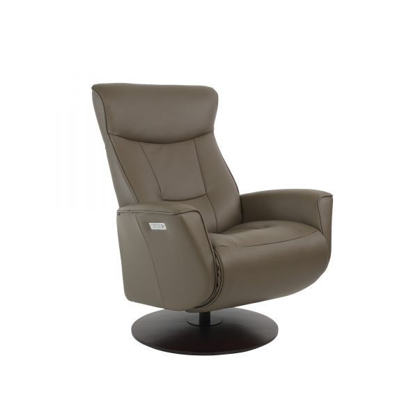 grey leather reclining chair powered