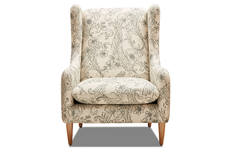 reading chair in cream linen with pale green paisley design
