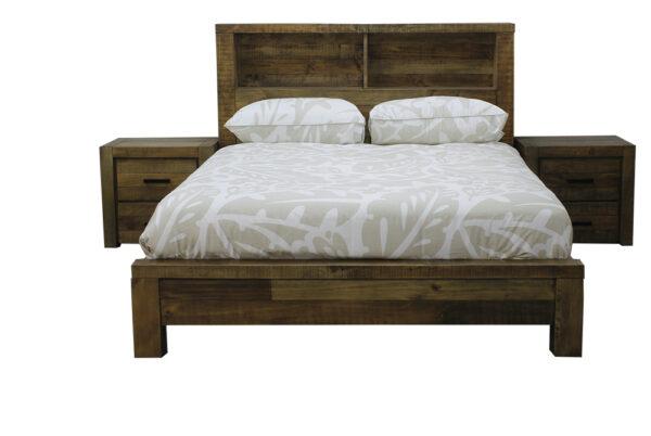 Rustic finish hardwood queen bed with open shelves