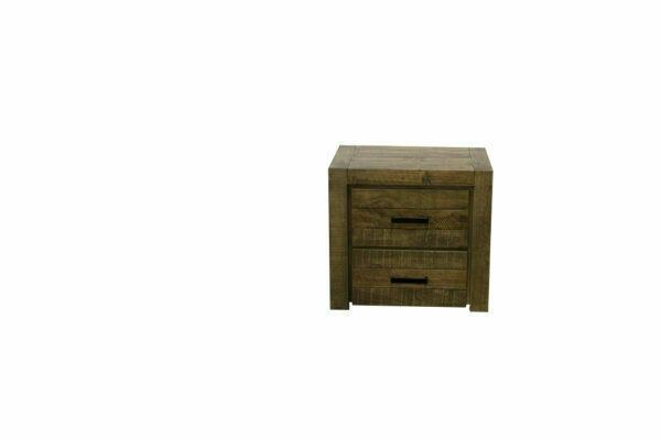 rustic finish hardwood bedside 2 drawers