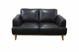 2 seat sofa modern black leather hardwodd exposed plinth base