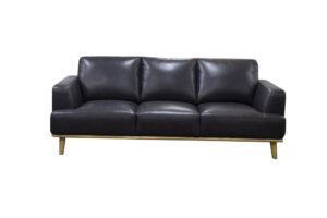 2 s3 seat sofa modern black leather hardwodd exposed plinth base
