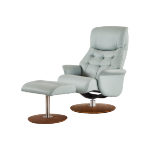 chair with buttons light blue with a foot stool