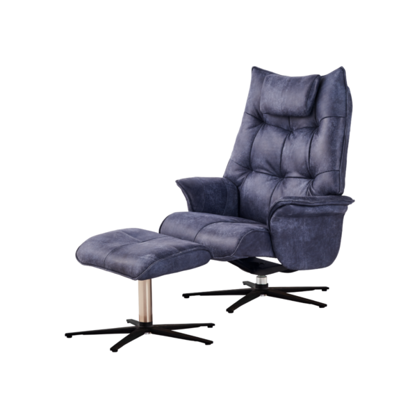 black chair with stool recliner