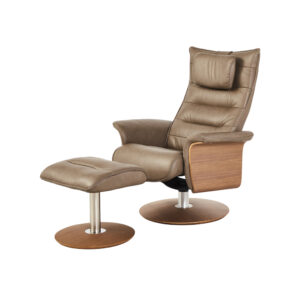 reclining tan colour leather chair with matching foot stool