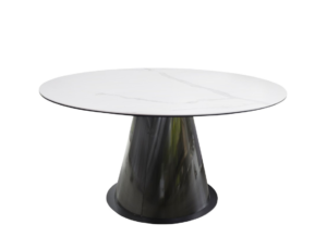 white marble round table top with taper black steel base
