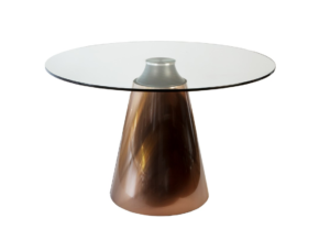 copper base round glass top dining table