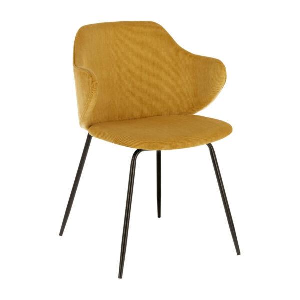 mustard cordouroy dining chair