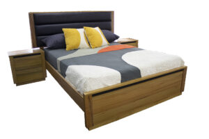 timber and leather bed