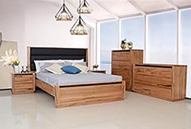 marri timber bed suite with black leather insert in head board