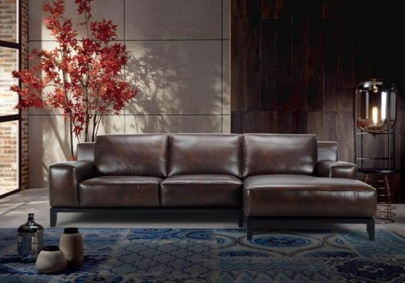 italian leather 3 wide seats and a chaise
